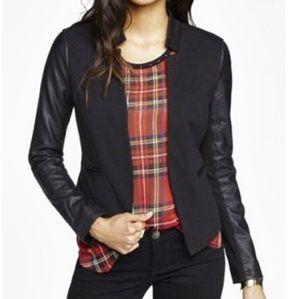 EXPRESS Leather Sleeve Blazer Size 0